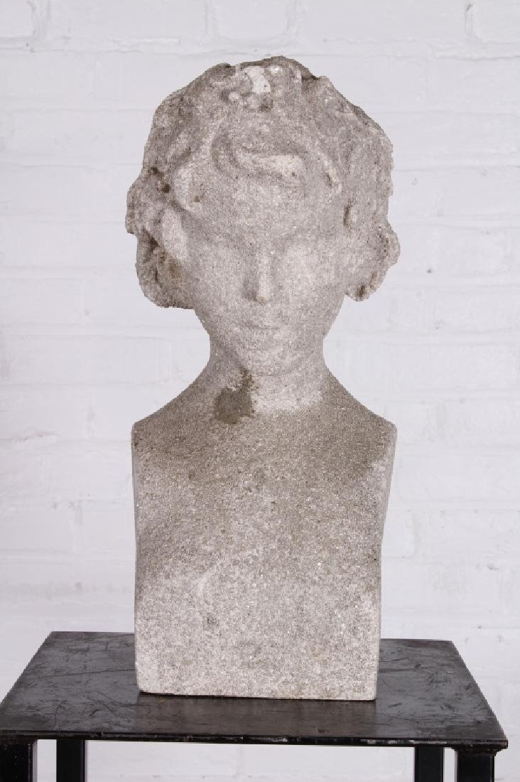 A Good Early 20th C Cast Stone Garden Bust