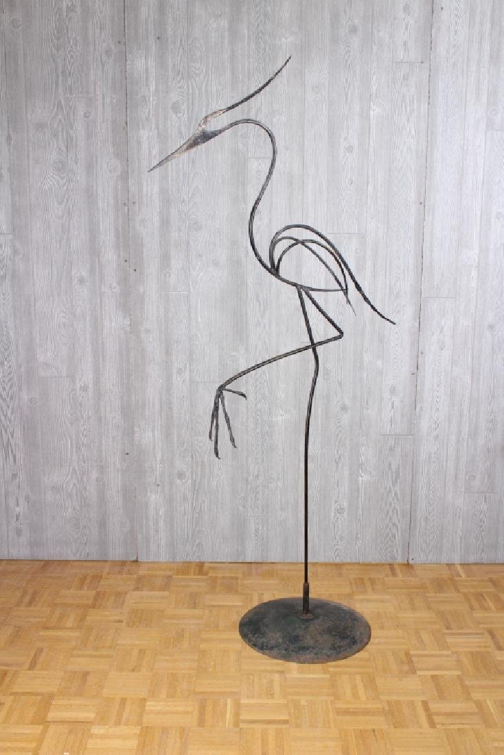 Wrought Iron Stylized Wading Bird Sculpture