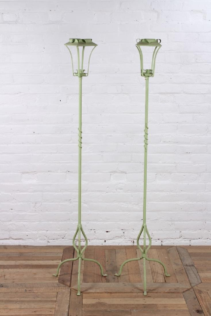 Pair of Wrought Iron Candle Torchieres