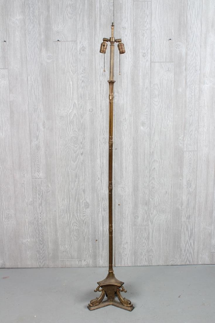 Stamped Oscar Bach Bronze Gothic Style Floor Lamp