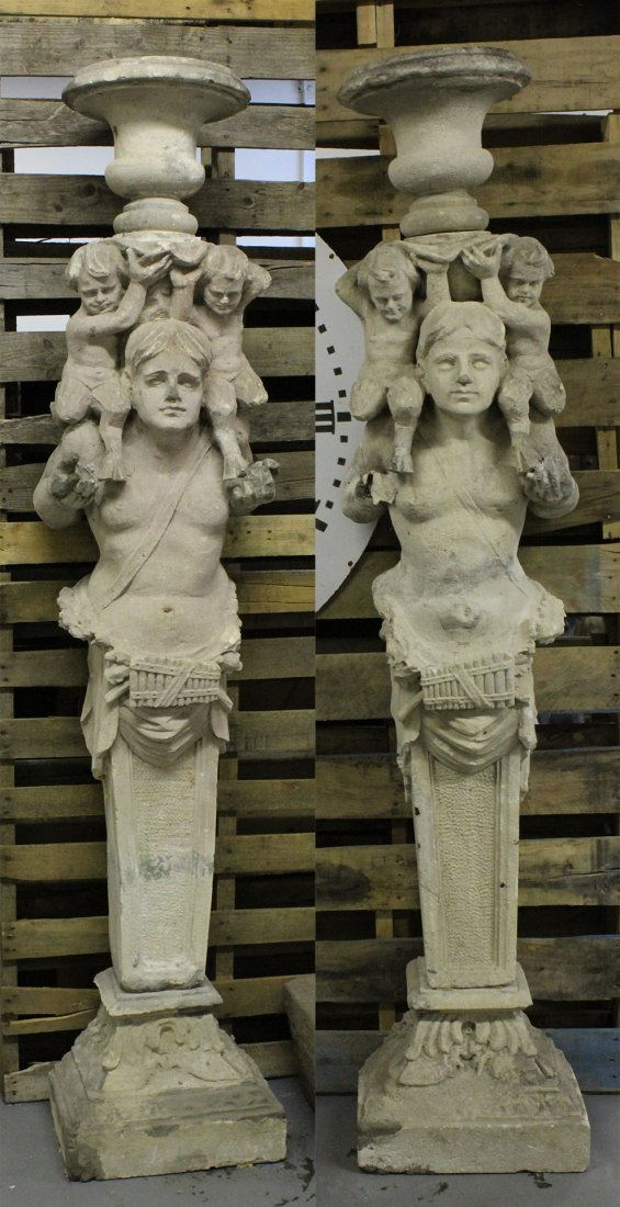 Pair 19th C Continental Carved Vincenza Stone Term