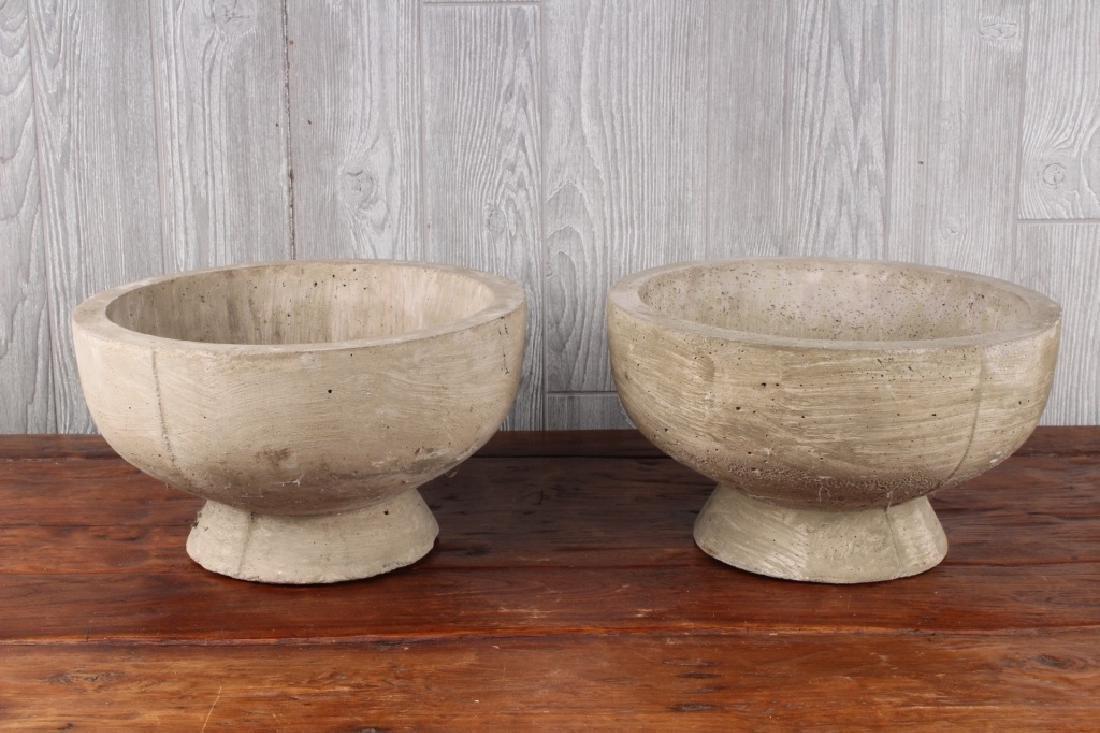 Pair Cast Concrete Shallow Bowl Planters