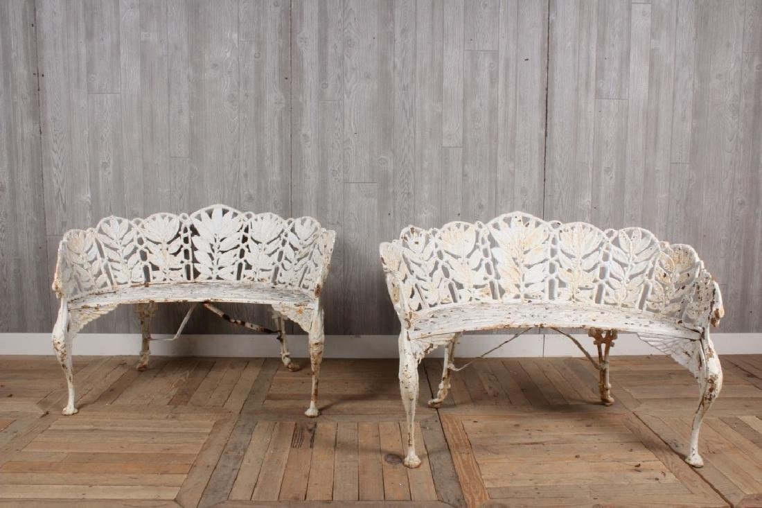 Pair Cast Iron Laurel Pattern Griffin Benches