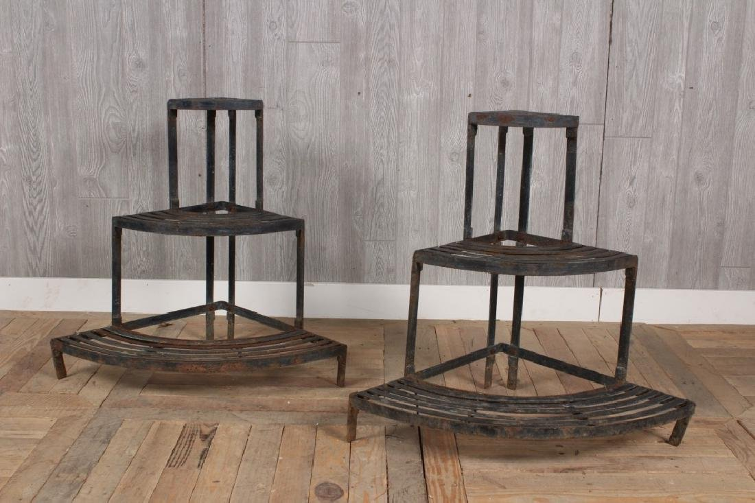Pair Strapwork Corner Plaint Stands