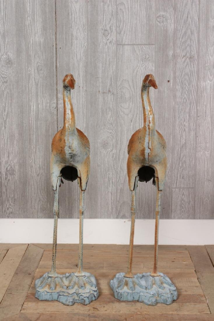 Pair Cast Iron Garden Herons
