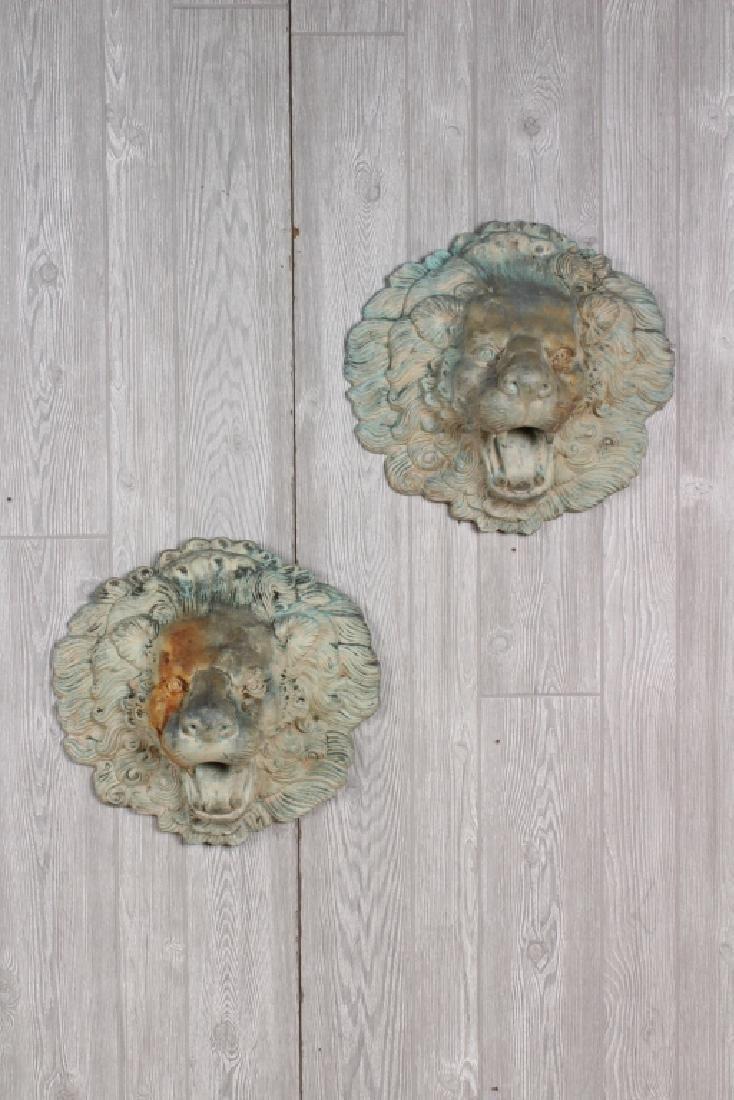 Pair Bronze Lion Masks