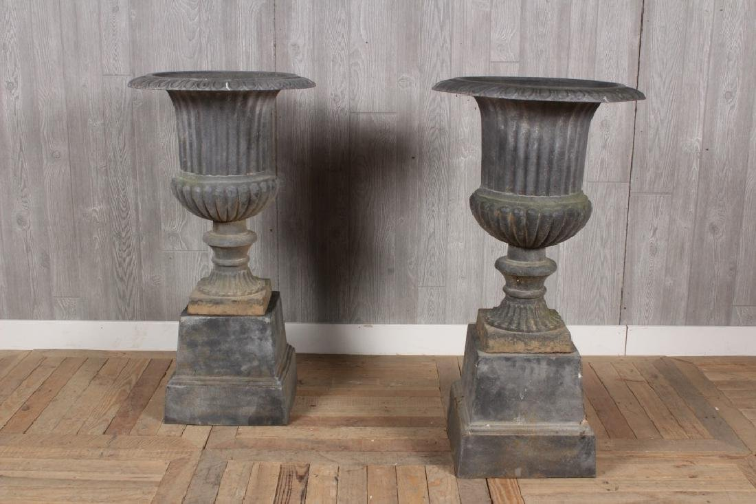 Pair Large Campana Urns on Bases