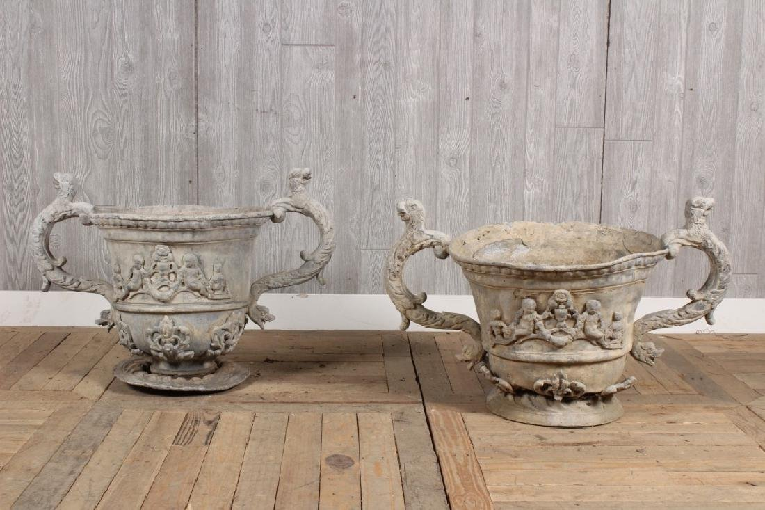 Pair Antique Twin Handled Lead Urns