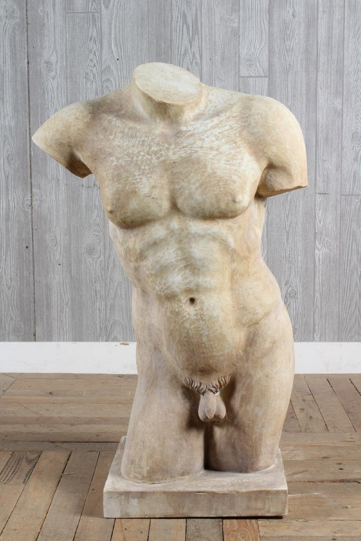 Carved Marble Male Nude Torso