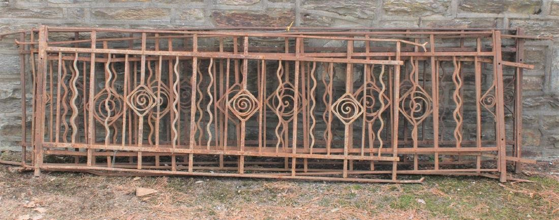 4 Sections Wrought Iron Art Deco Railings