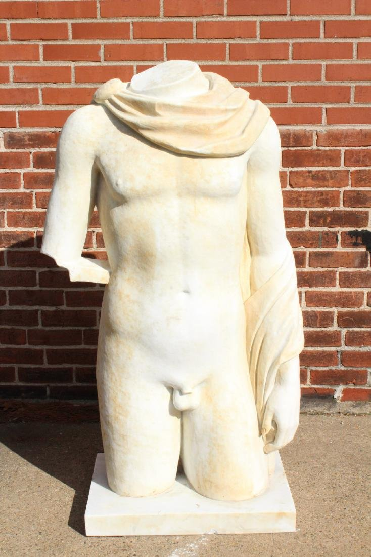 Life Size Carved Marble Male Nude Torso