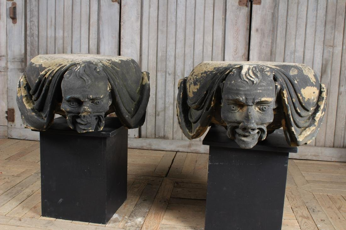 2 Japanese Architectural Carved Stone Capitals