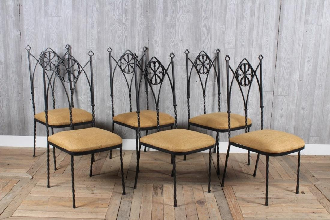 6 Gothic Revival Wrought Iron Chairs