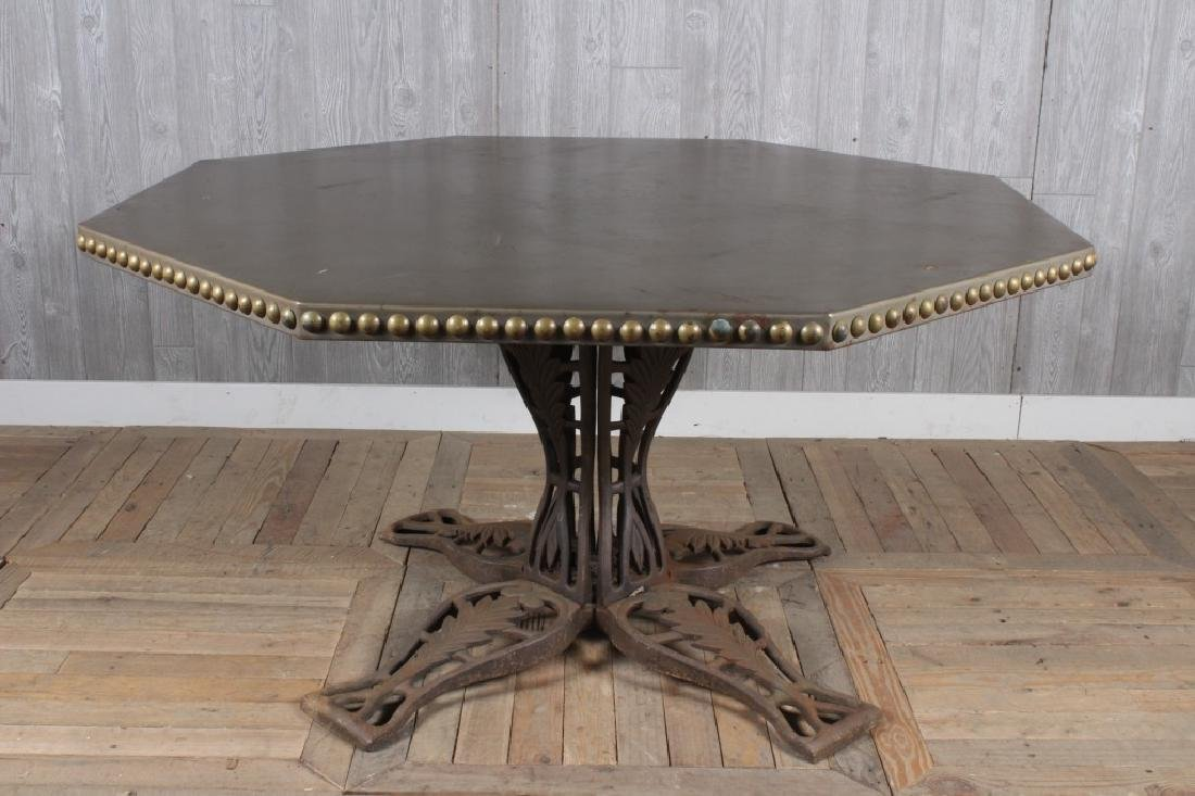Octagonal Zinc Table with Iron Base