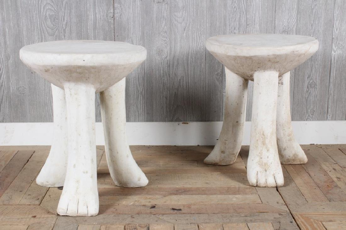 Pair John Dickinson Style Cast Stone Tables