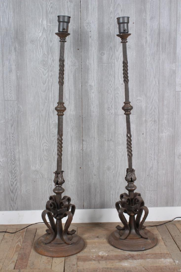 Pair Wrought Iron Torchieres
