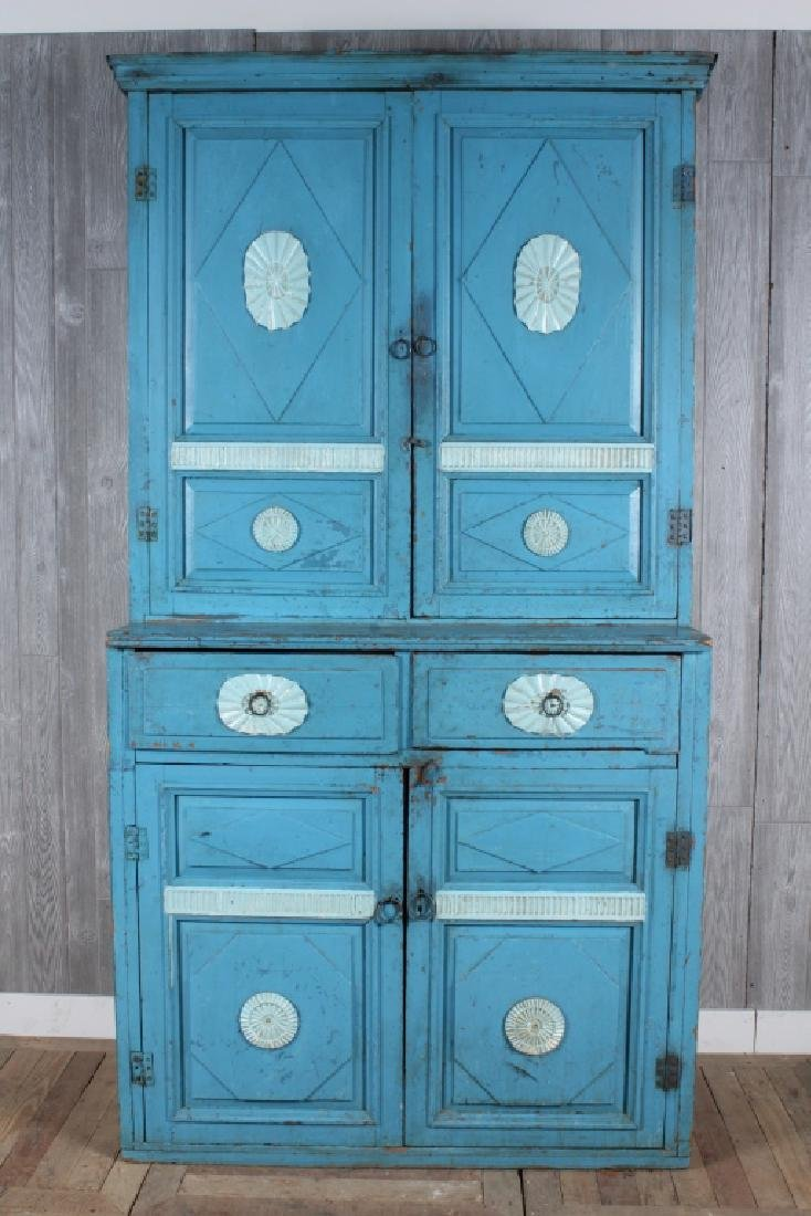 19th C Painted Step Back Cupboard