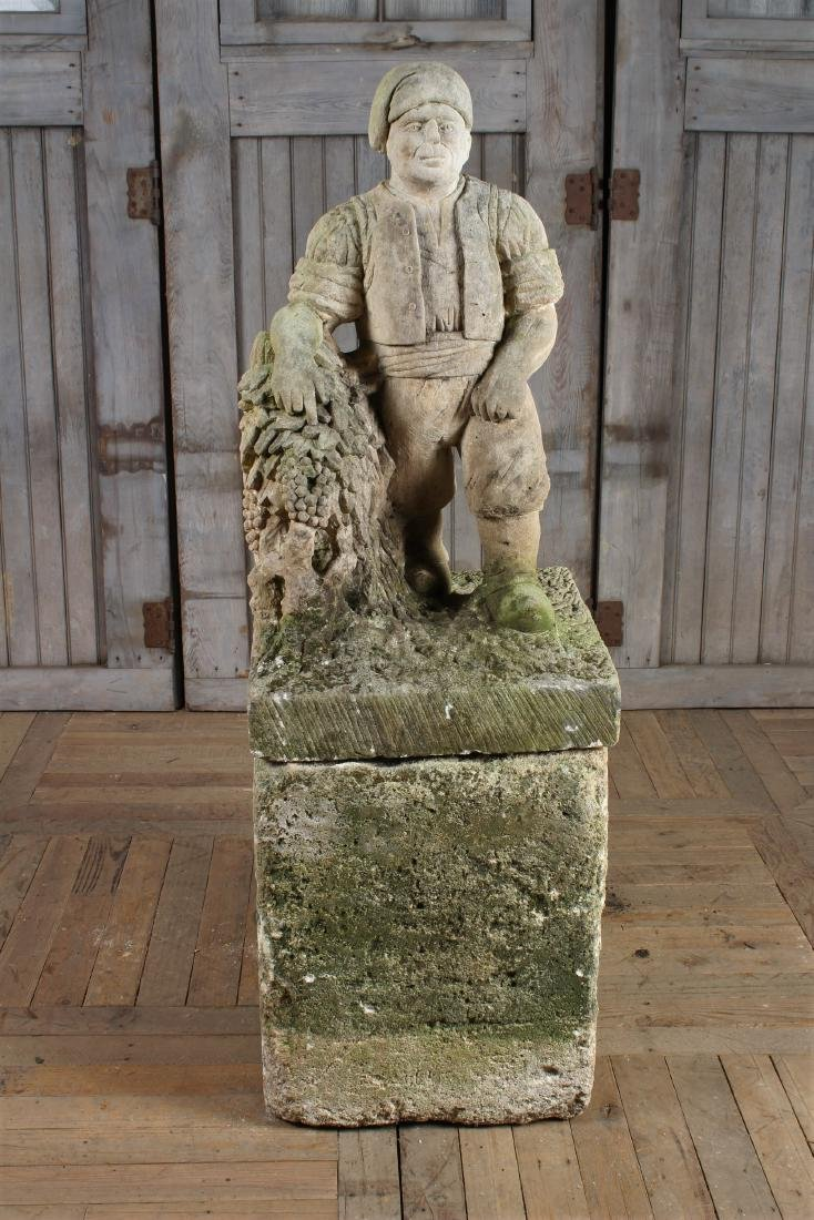 French Carved Limestone Figure on Base