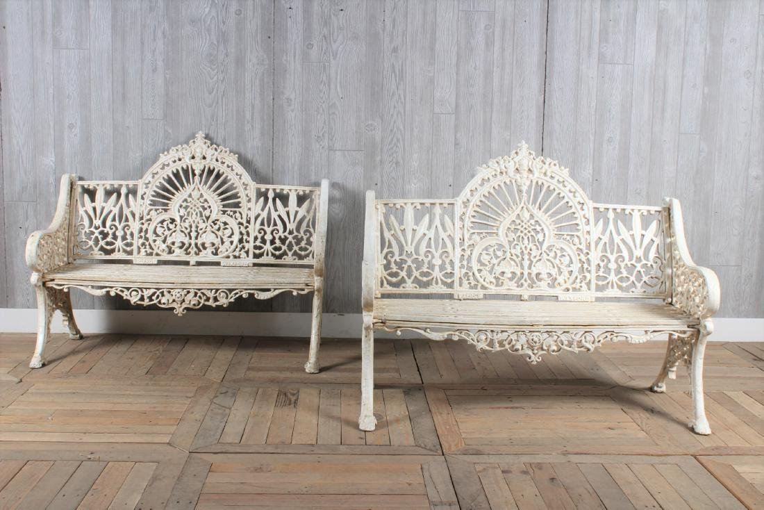 Pair Crested Cast Iron Benches