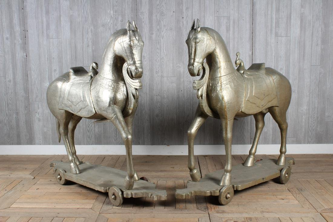 Pair Indian Metal Clad Horses