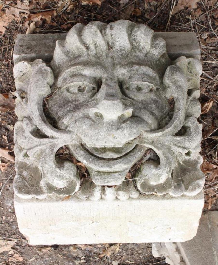 19th C Carved Limestone Keystone