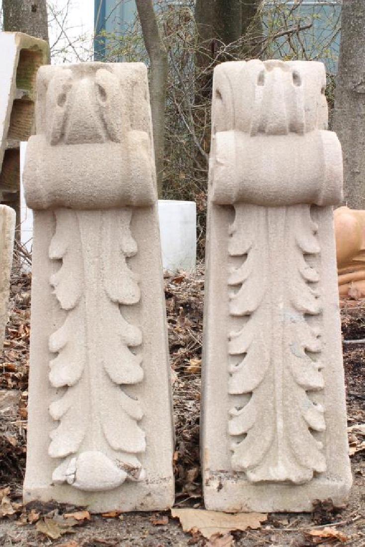 Pair Architectural Acanthus Leaf Stone Brackets