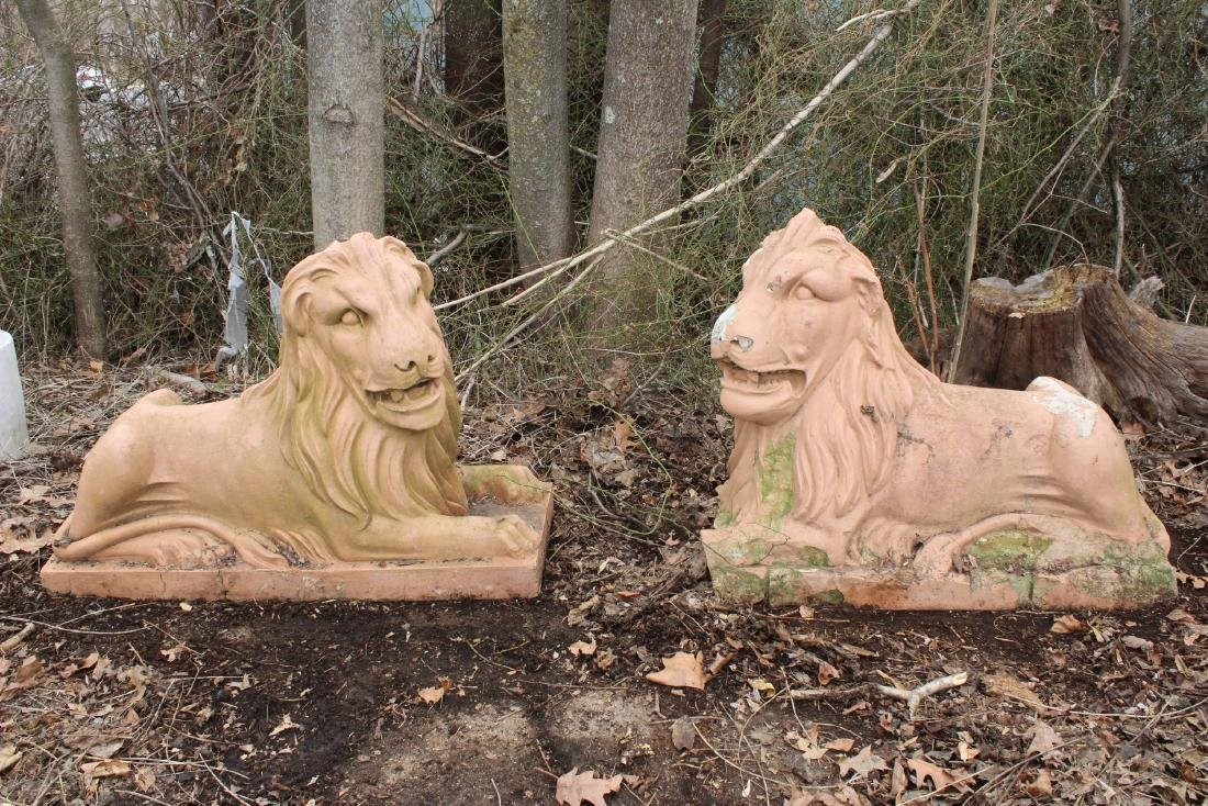 Pair Turn of the Century Terracotta Lions