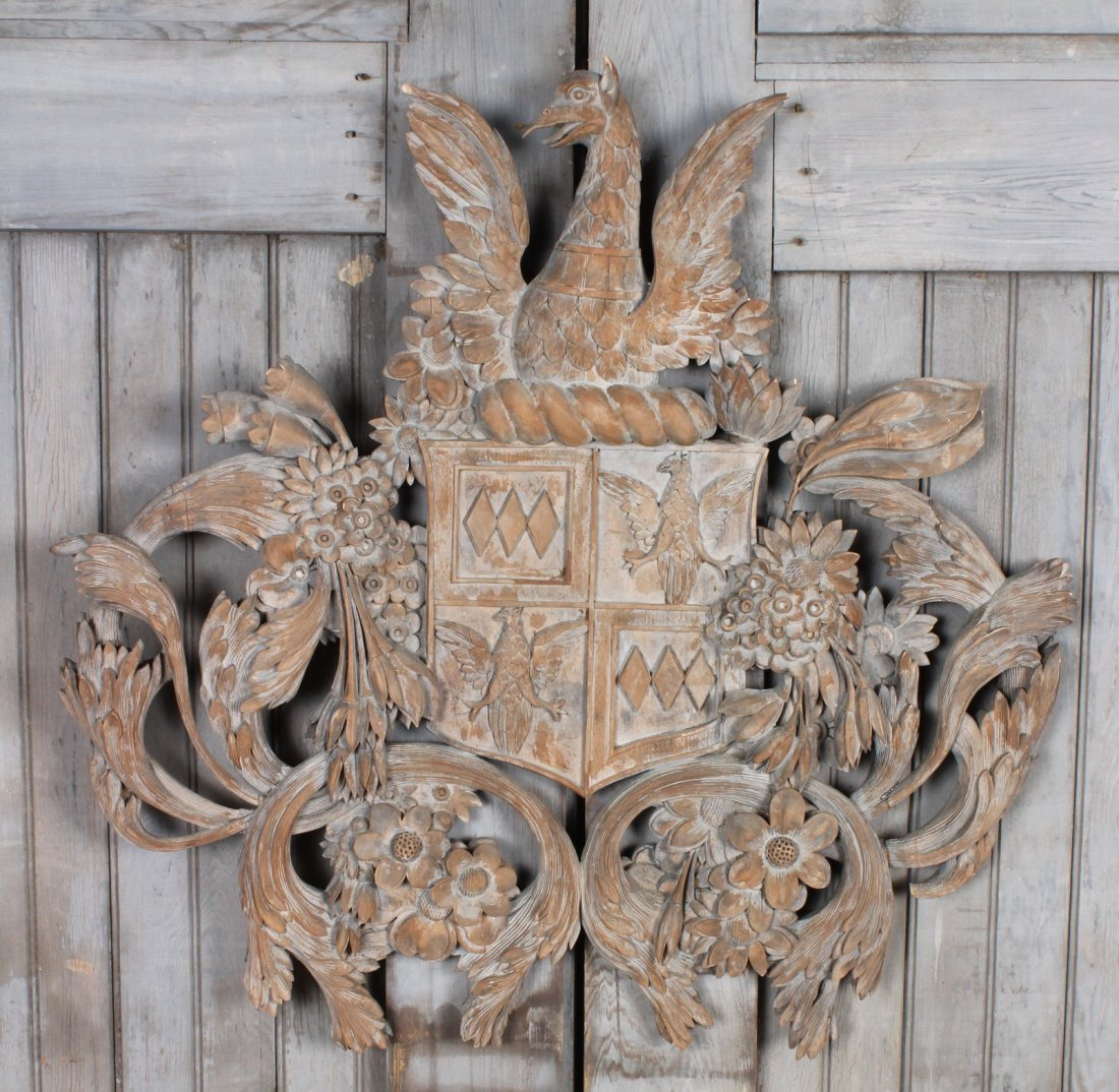 Continental Carved Wood Armorial Crest