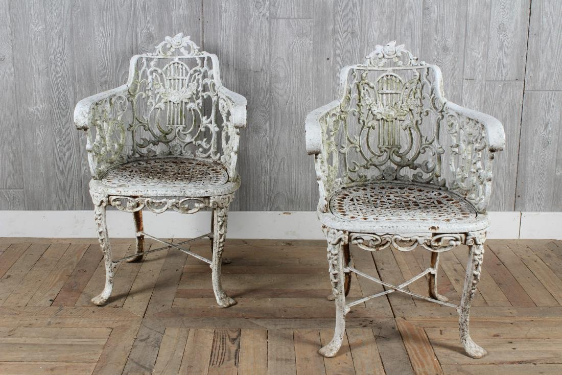 Pair Antique Adam Style Cast Iron Chairs