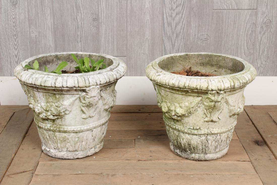 Pair Vintage Concrete Planters