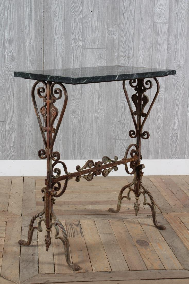 Wrought Iron Marble Top garden Table