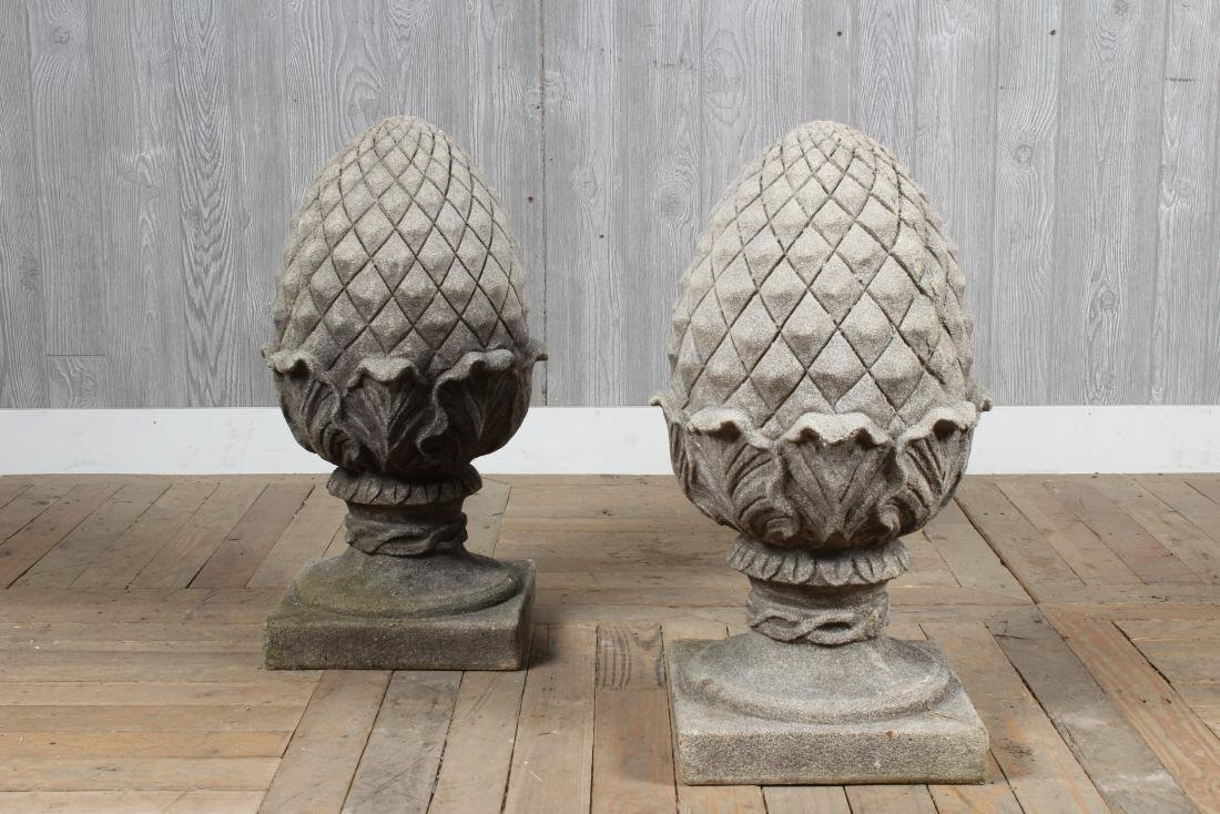 Pair Cast Stone Acorn Finials