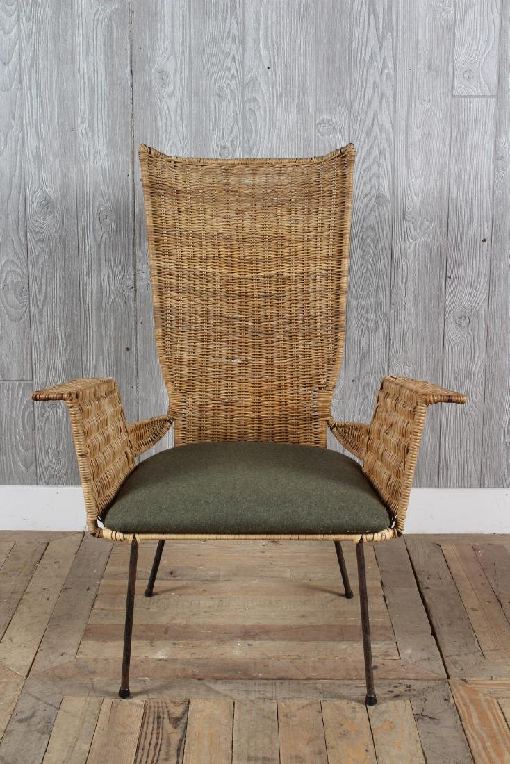 Mid Century Modern Wicker Garden Chair