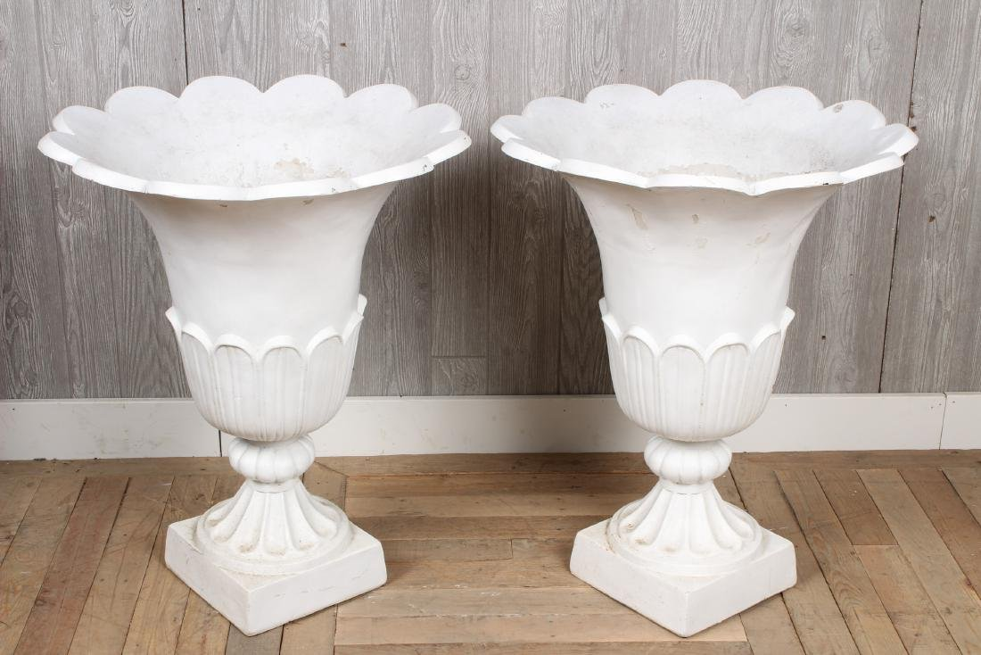 Pair Composite Tulip Form Urns