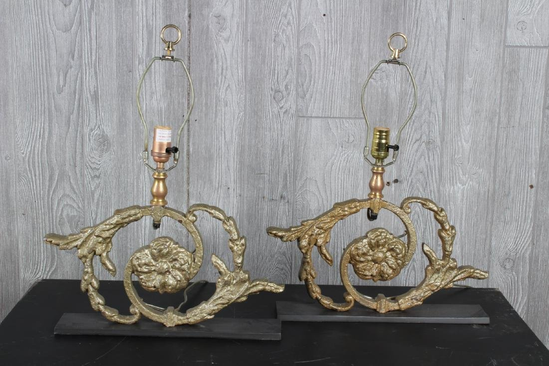 Pair Cast Iron Volute Lamps