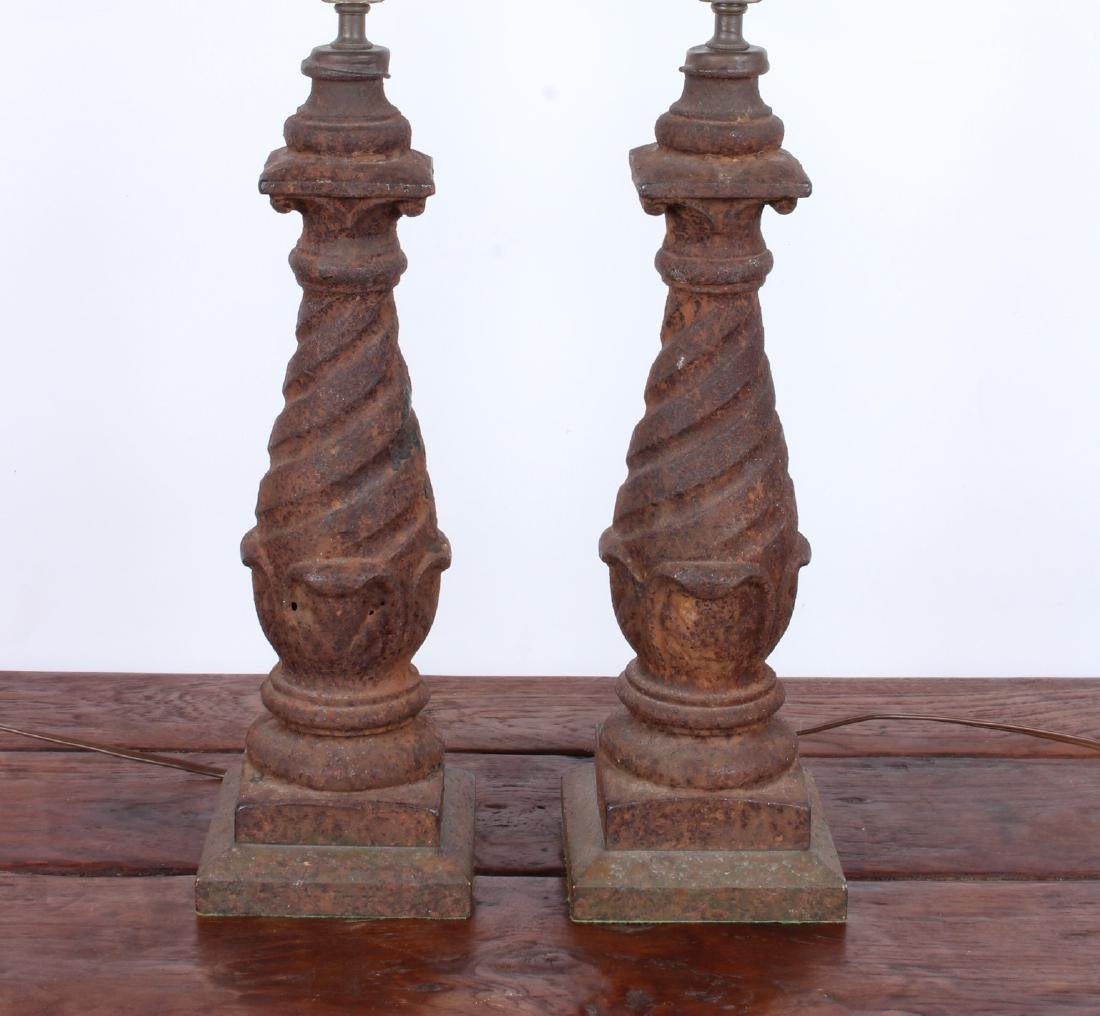 Pair Cast Iron Lamps