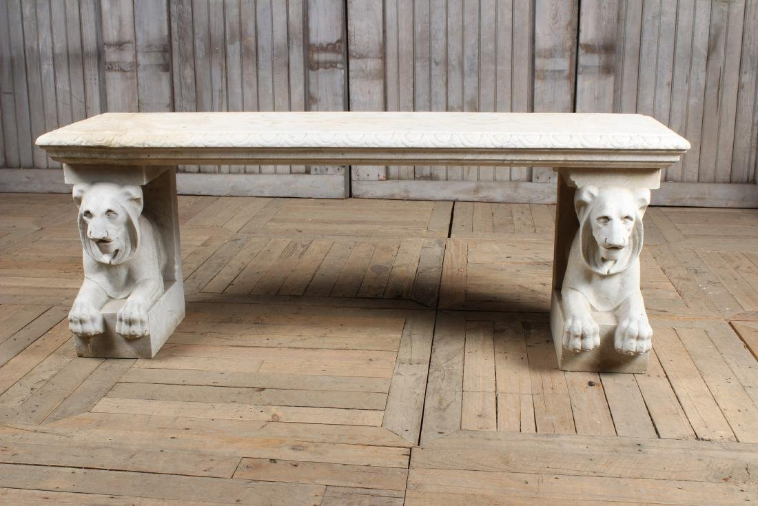 Thomas Hope Style Marble Lion Bench