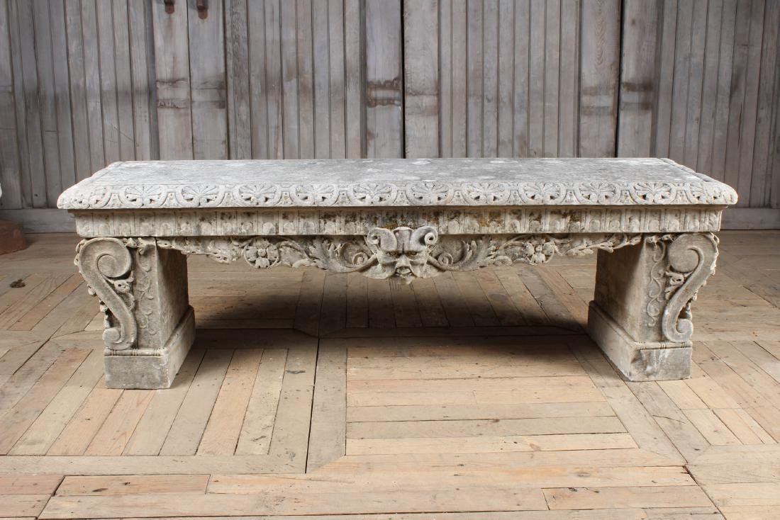 19th C Continental Carved Marble Garden Bench