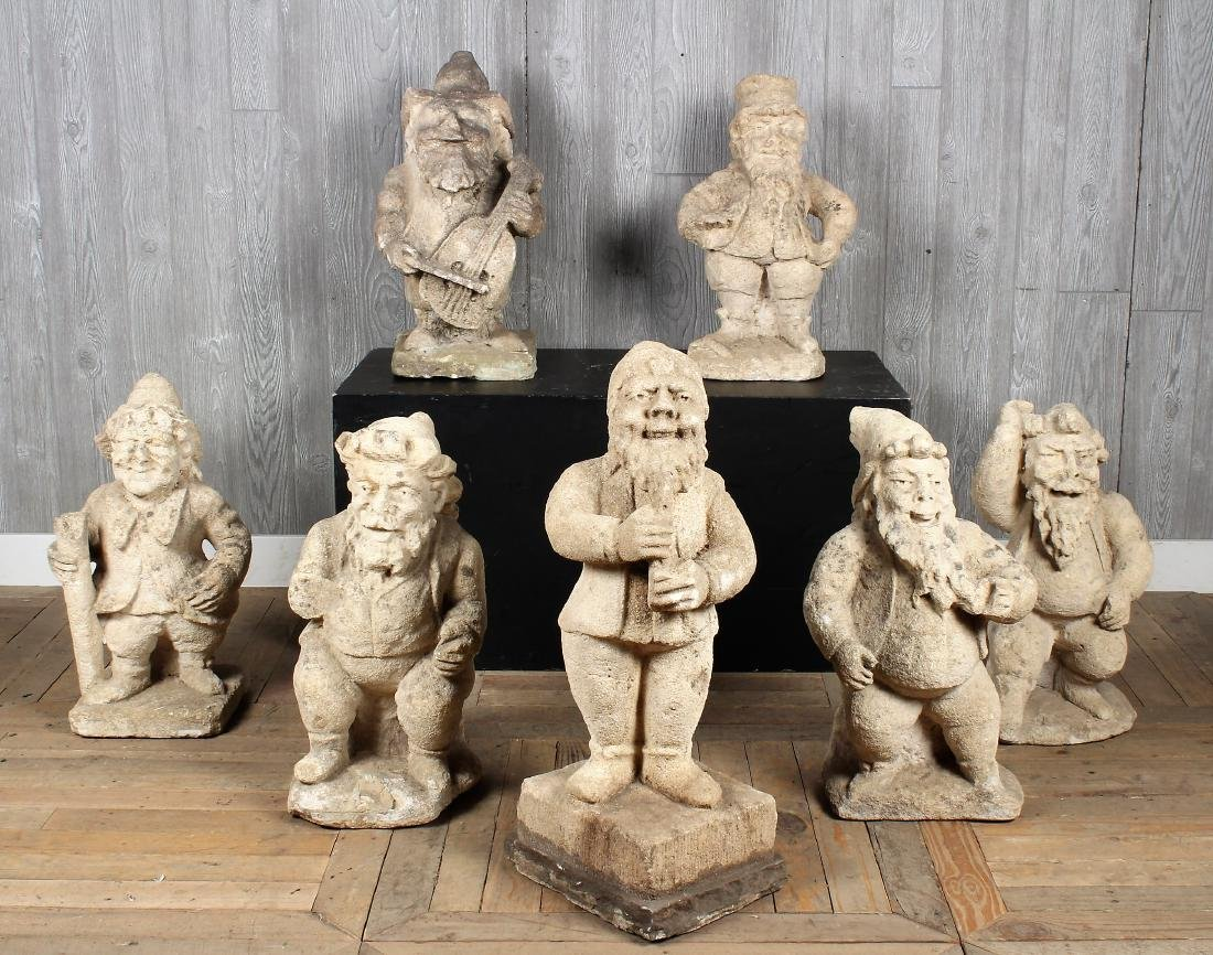 Rare Set of 19th C Carved Limestone Gnomes