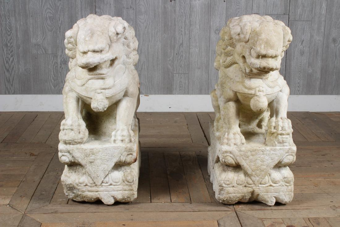 Pair Marble Foo Dogs