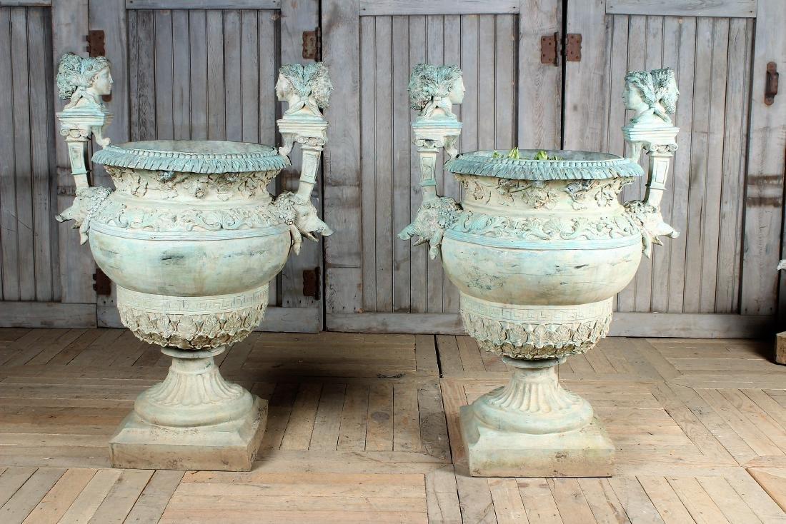 Pair Neo-Classical Verdigris Bronze Urns