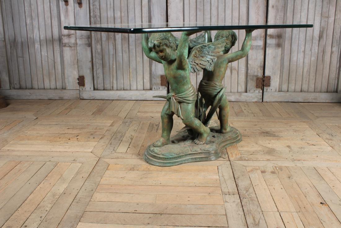 Figural Bronze Winged Putti Garden Table