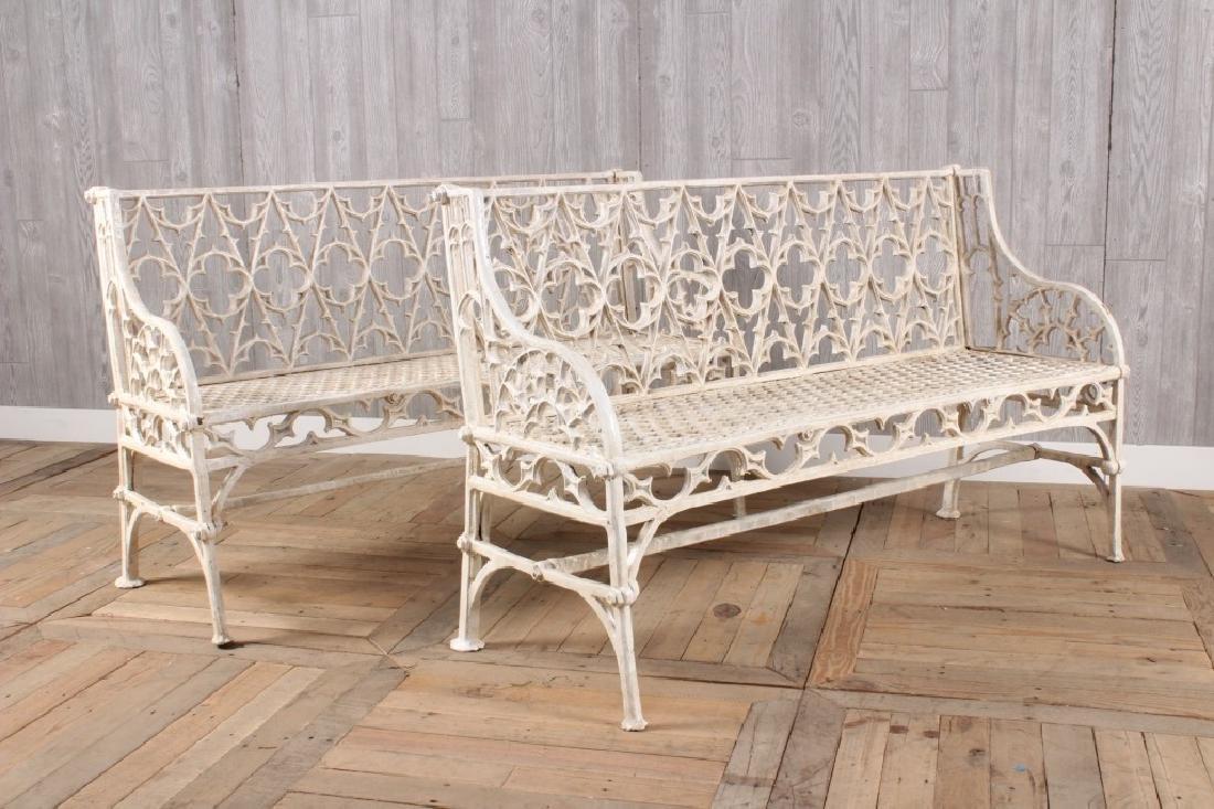 Pair Cast Iron Gothic Style Garden Benches