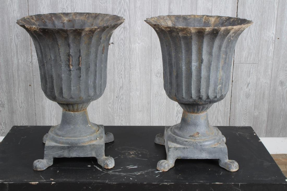 Pair Cast Iron Tulip Form Fluted Urns