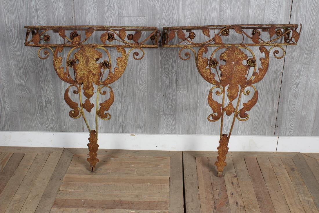 Pair Wrought Iron Garden Consoles