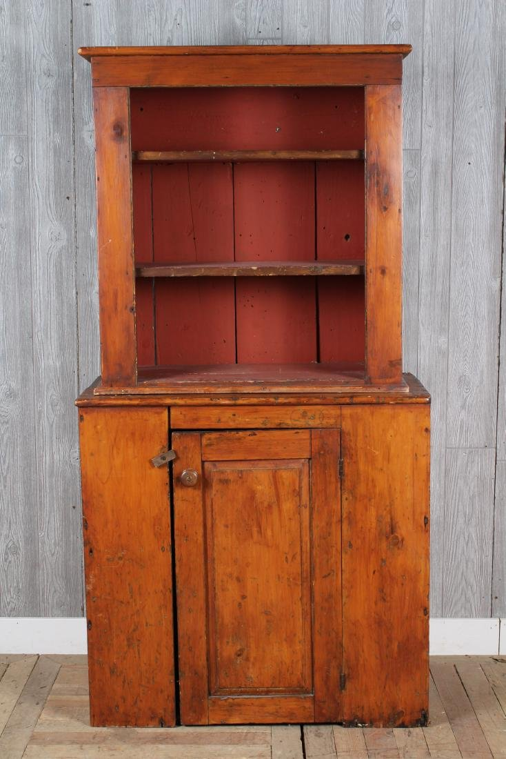 Early Paint Decorated Pine Cupboard
