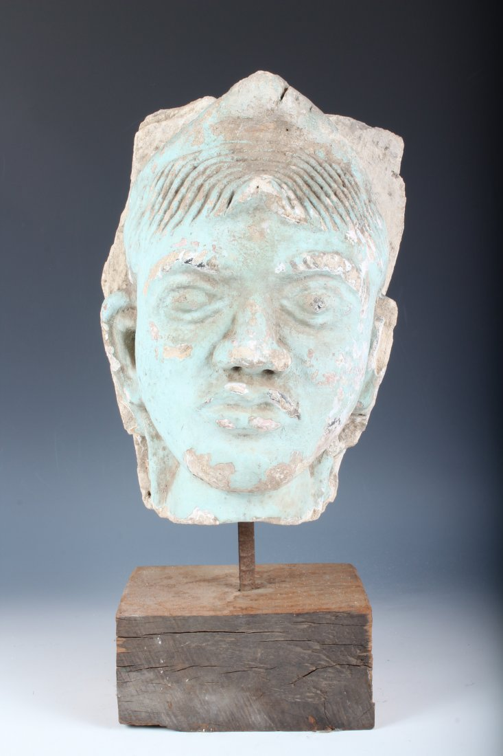 Indian Polychrome Sandstone Deity Portrait Bust