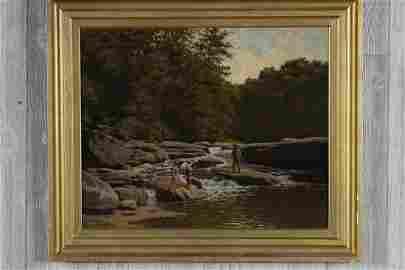 EA Poole (American, 1841-1912) Creekside Painting