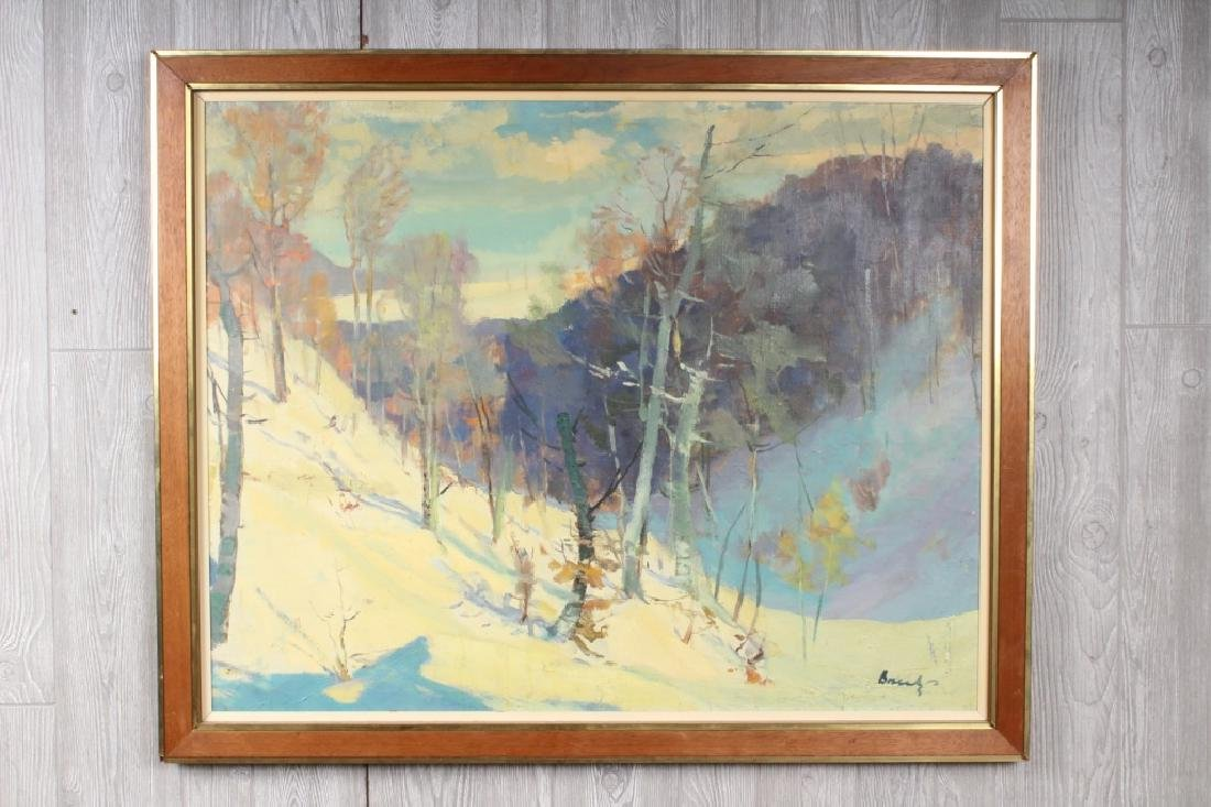American School Snowscape Painting