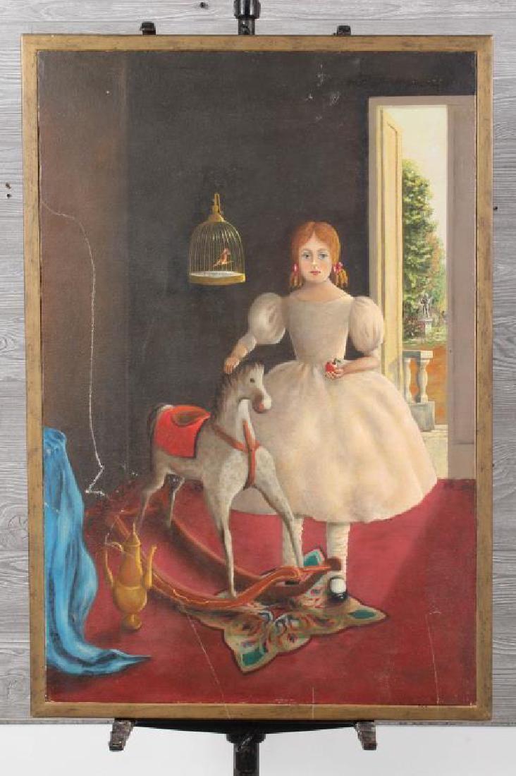 Naive Folk Art Portrait- Girl w/ Rocking Horse